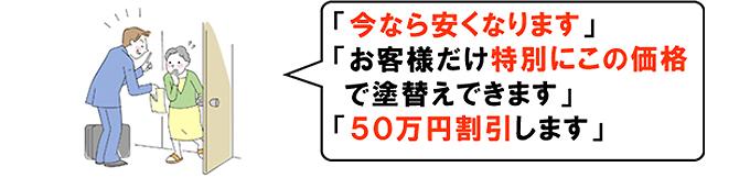 今なら安くなります お客様だけ特別にこの価格で塗り替えます 50万円割引します